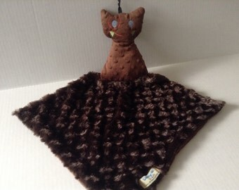 Lovie- Monster security blanket- Lovey-baby shower gift- Brown monster luvie- Ready to ship- Baby yellow blanket