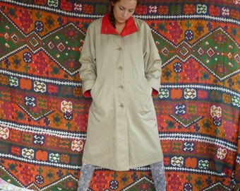 Vintage Classis Women's Red Wool Lined London Fog Mainscoats Trench Coat