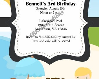 Custom Pool or Beach Party Birthday Invitation