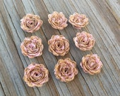 9 Burlap Lace Mini Flower- Handmade Rustic Collection Posey Rose Roses 12 PCS Natural Pink Lace Wedding Decoration Bridal Decor Card Making