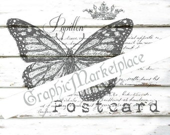 French Postcard Butterfly Papillon Instant Download Transfer Fabric Linen digital collage sheet graphic printable No. 589