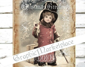 Christmas Girl Postcard Large Image Instant Download Vintage Transfer Fabric digital collage sheet printable No. 914