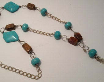 Long Turquoise and Brown Necklace