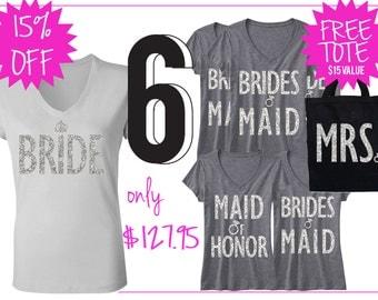 BRIDAL WEDDING 6 SHIRTS 15% Off Bundle, Mrs Shirt, Bridesmaid shirt, maid of honor shirt, wedding, mrs, bridesmaid, maid of honor, bridal