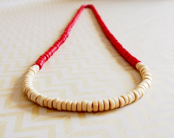 Red & cream wooden colour block rondelle bead necklace