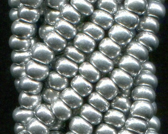 10/0 Silver Metallic Rocailles Czech Glass Seed Beads - Available In: 1/2-1-4-8-12 Hank Qtys - 2.3 mm Beads.