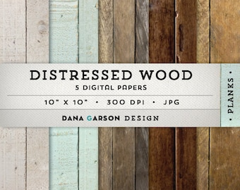 Rustic Wood Digital Paper Set with distressed wood textures, 5 sheets for invites, printing, scrapbooking, blog graphics, clipart, ClipArt