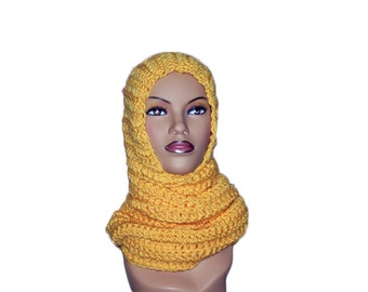 Yellow Hooded Scarf, Chunky