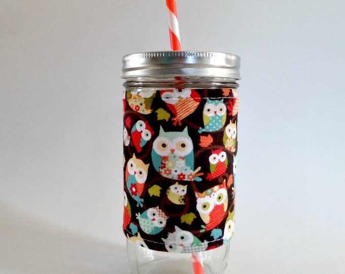24oz Mason Jar Tumbler with Mint and Coral Owls Insulated Cozy - BPA free