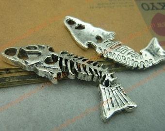 15 Fish Bone Charms, 50X16mm Silver Tone Fishbone Pendants T-C3841