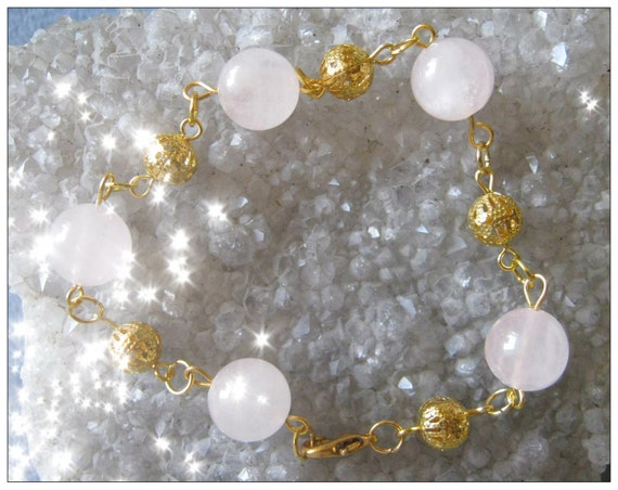 Handmade Gold Bracelet with Rose Quartz by IreneDesign2011
