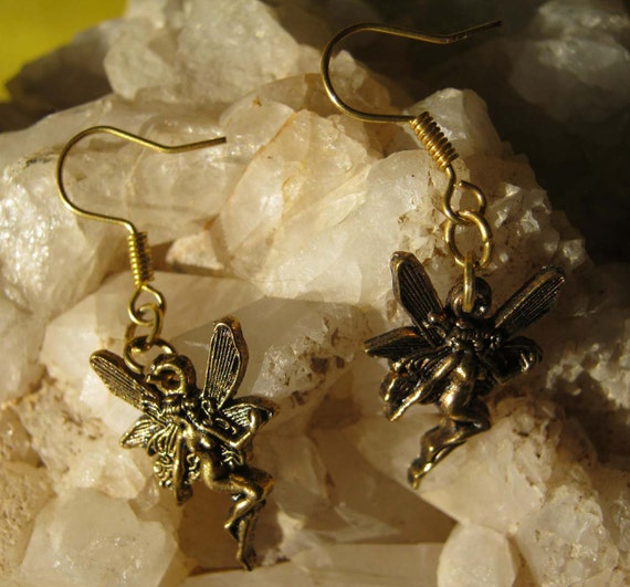 Handmade Gold Hook Earrings with Fairy by IreneDesign2011