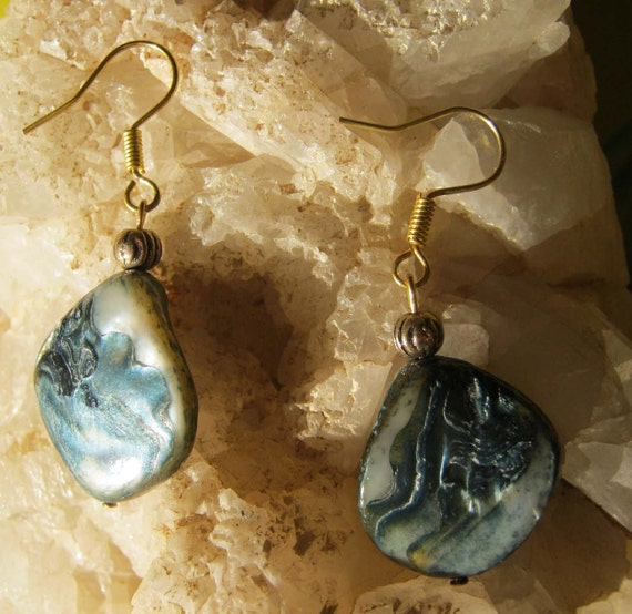 Handmade Gold Hook Earrings with Blue Seashell by IreneDesign2011