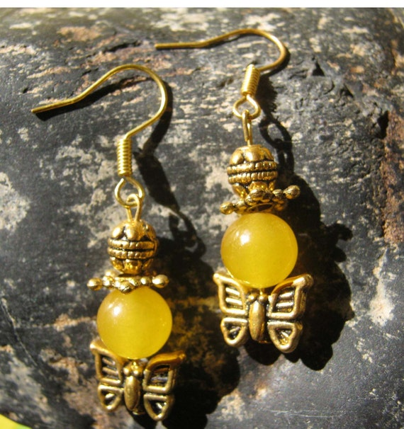 Gold Earrings with Yellow Jade