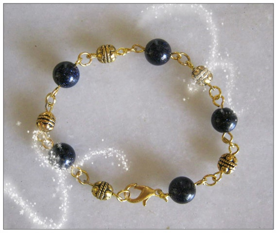 Handmade Gold Bracelet with Blue Goldstones by IreneDesign2011