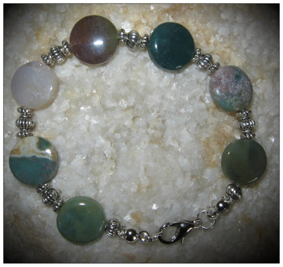 Handmade Silver Bracelet with Agate Coins by IreneDesign2011