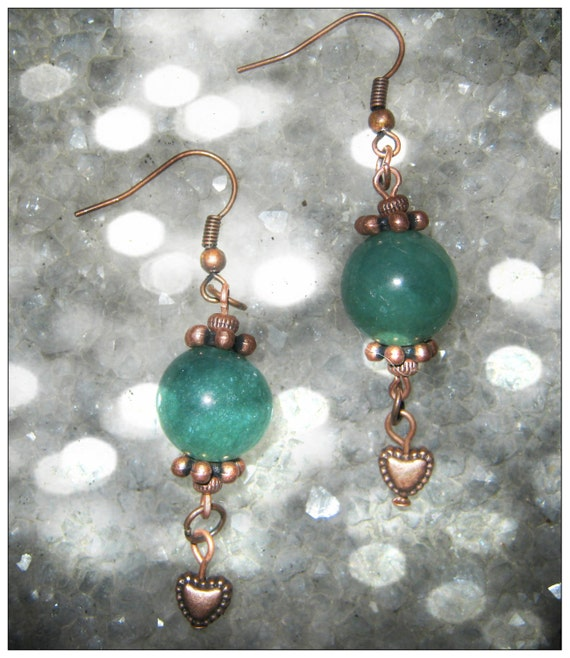 Handmade Copper Hook Earrings with Green Aventurine & Heart by IreneDesign2011