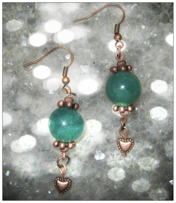 Handmade Copper Hook Earrings with Green Aventurine by IreneDesign2011