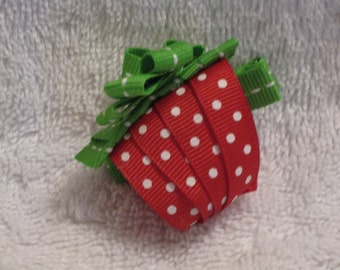 Strawberry hair bow, strawberry picking, berry picking bow, strawberry patch