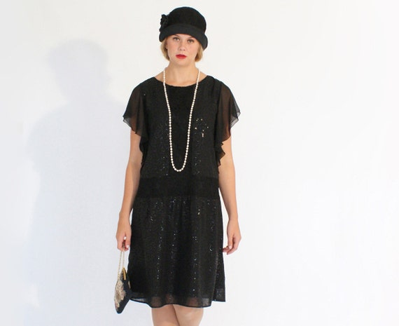 Items similar to Black beaded flapper dress with flutter sleeves ...