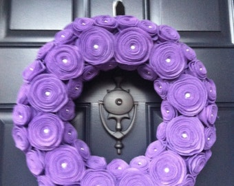 "14"" Purple Felt Flower Wreath"