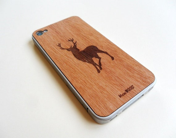 Real Wood - iPhone 4/4s (also available for iPhone 5) Bossé -Cedar Skin - Moose / Made in Belgium