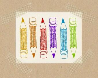 Pencil // stamps 2 x 2 cm