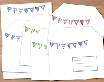 String of pennants - handmade stationery // recycling paper // 10 envelopes & notepad