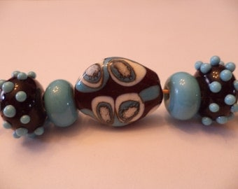Brown and Turquoise lampwork glass bead set