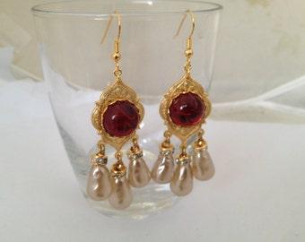 Designer Handmade Vintage Look RGP  Art Glass Flawed Ruby and Glass Baroque Pearl Earrings