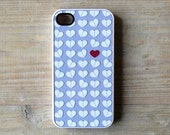 iPhone case Lavender hearts iPhone 4/4S cover lilac - Lonely red heart