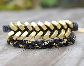 Hardware Bracelet with Brass / Zinc Hex Nuts - Double Wrap, Hex Nut Bracelet, Industrial Bracelet, Hardware Bracelet
