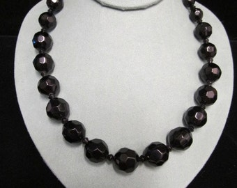 Designer Liz Claiborne Black Glass Bead Necklace Item W-#382