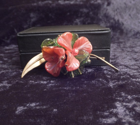 SALE Lovely Antique Pink and Green Lucite Cluster Brooch Pin