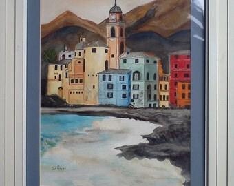 CAMOGLI  ITALY Watercolor Landscape Painting Art Italian Riviera Water Building Coast Sea Ocean