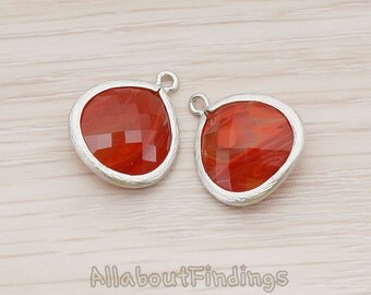 FST001-MR-AB // Matte Original Rhodium Plated Framed Amber Glass Stone Pendant, 2 Pc