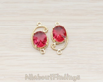 FST109-G-RU // Glossy Gold Plated Paisley Framed Ruby Stone Pendant, 2 Pc