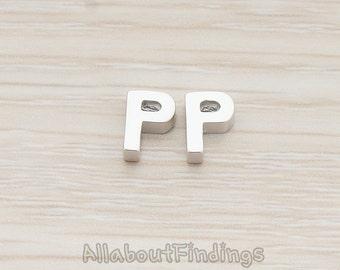 PDT198-P-MR // Matte Original Rhodium Plated 3D Initials Pendant, 2 pc