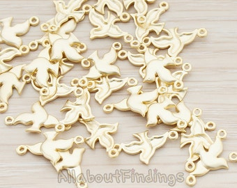 CNT037-MG // Matte Gold Plated Mini Dove Pigeon Bird Connector, 4 Pc