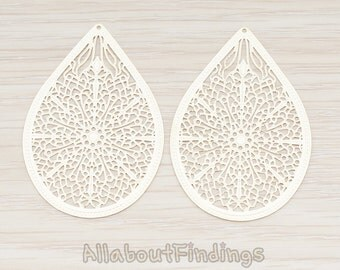 PDT229-01-MG // Matte Gold Plated Cathedral Filigree Teardrop Pendant, 2 Pc