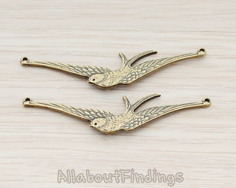 PDT335-AB // Antique Brass Plated Bird Narrow Sparrow Pendant, 2 Pc