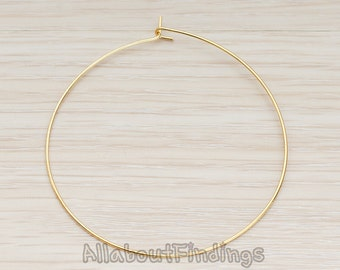 ERG661-G // Glossy Gold Plated 50mm Hoop Earwire, 6 Pc