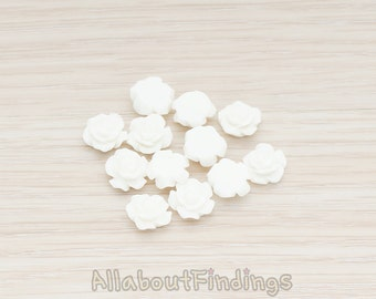 CBC157-04-WH // White Colored XSmall Angelique Rose Flower Flat Back Cabochon, 8 Pc