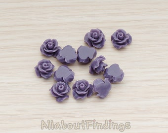 CBC191-01-PU // Purple Colored Small Bloom Rose Flower Flat Back Cabochon, 6 Pc