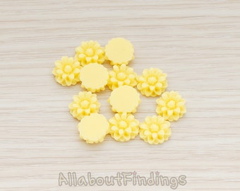 CBC501-YE // Yellow Colored Dandelion Flower Back Cabochon, 6 Pc