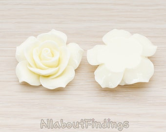 CBC157-07-IV // Ivory Colored 35mm Angelique Rose Flower Flat Back Cabochon, 2 Pc