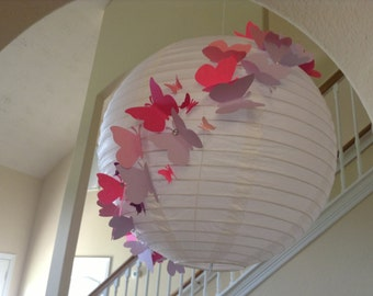 "12"" Pink and Purple Princess, Paper Lantern,  butterfly lantern, princess room decor, butterfly birthday, butterfly party, butterfly decor"