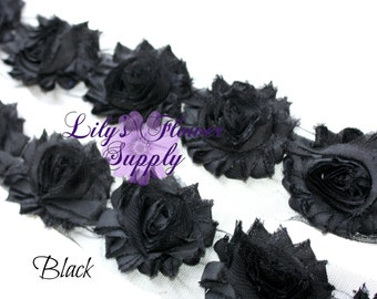 Black Shabby Rose Trim - Shabby Flower trim - Shabby Flowers - Chiffon Flower - Black - Wholesale - Shabby Chic - Rose Trim - 1/2 or 1 Yard