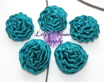 Mini Rolled Rosette - Set of 5 - Satin Rolled Rosettes - Teal - Satin Rose - Satin rosette - Rolled Rosettes - Wholesale