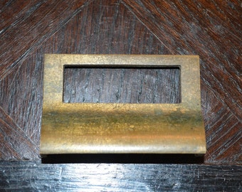 Antique Brass Apothecary Cabinet Drawer Bin Pull Label Handle Hardware